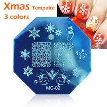 MANZILIN Christmas snowflake Art Plate Stamp Stamping Round Stainless Steel DIY Nail Polish Print Manicure Nail Stencil Template