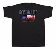 2017 New T-Shirts Men's Clothing High Quality Detroit Flag Souvenir Tourist Spots City Sites Casual O-Neck Male Tops & Tees