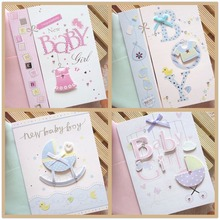 Newborn babies born greeting card Baby shower Boy & Girl baby stroller / Clothing / feeding bottle birthday card free shipping
