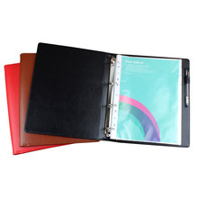 Pen loop A4 faux leather cover folder 4 Rings , A4 Custom Handmade Binder With transparent pockets(China)
