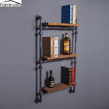 Famirosa Wall Hanging ThreeTiers Iron Pipe Book Shelf Retro Art Display Shelves Bookcase Decorative Bookshelf For Living Room(China)