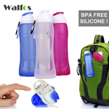 WALFOS Food Grade 500ML Creative Collapsible Foldable Silicone drink Sport Water Bottle Camping Travel my plastic bicycle bottle(China)