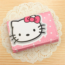 Hello kitty  fresh ladies purse leather wallet wholesale lovely cartoon cute coin wallets pink rose for student girls gift !