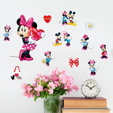 Creative removable cheap kids bedroom decor diy 3d baby minnie wall stickers
