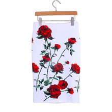 3D red rose print women middle faldas ladies pencil skirts 2016 fashion design vogue girls slim bottoms free shipping