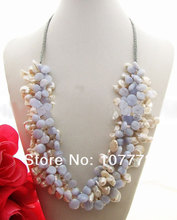 Stunning! 4 strands Pearl&Blue Chalcedony Necklace free shipment