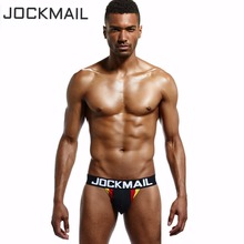 Buy JOCKMAIL Brand 4PCS Mens Underwear Jockstraps Sexy Briefs Bikini Cotton Men Jock strap Gay Penis Pouch Thong G Strings Backless