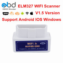 Top Rated Wireless ELM 327 WIFI V1.5 OBD2 Scanner ELM 327 WI FI IOS Android PC Avaliable ELM327 WI-FI Interface Multi-Language