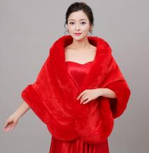 Red Winter Big Warm Wedding Bolero Faux Fur 2017 Wedding Accessories Bridal Shawl Wrap Jacket AL5189