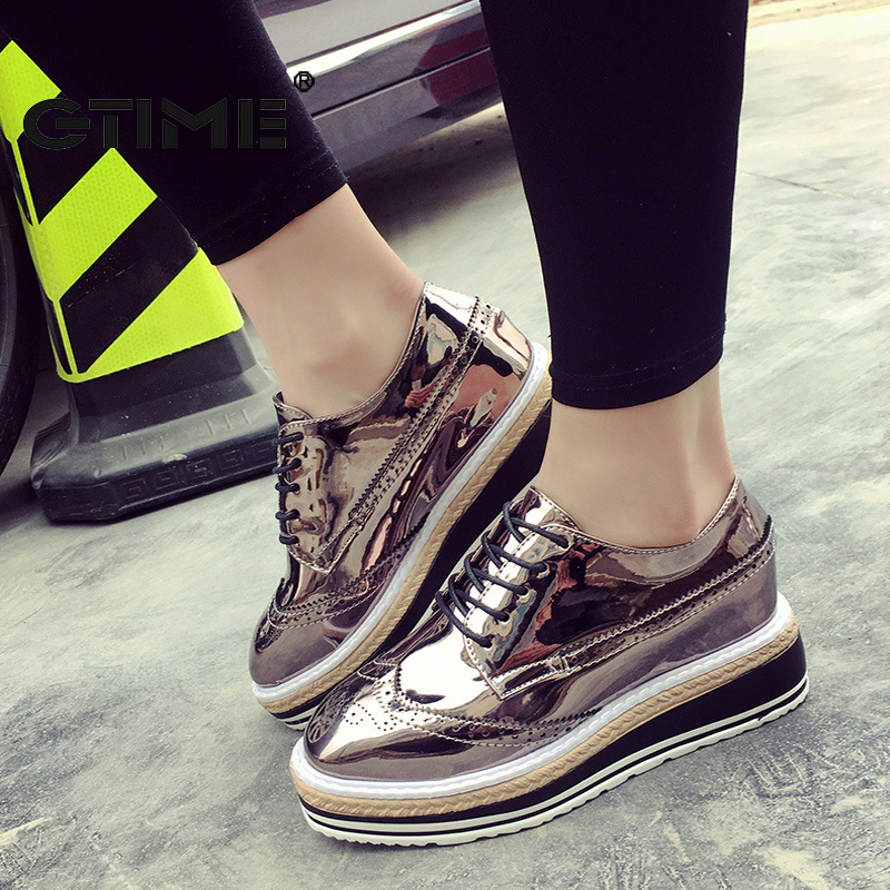 GTIME Patent Leather Women Oxfords 2017 Platform Shoes Woman Spring Creepers Autumn Flats Casual Lace-Up Women Brogue Shoes GU26<br><br>Aliexpress