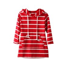 Spring Autumn Classic Striped Baby Girl Clothing Long-Sleeved Children's Casual Dresses Clothing Hooded Dress Size 90-130