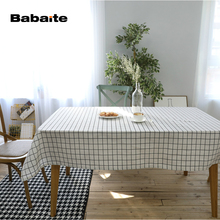Babaite Black White Waterproof Tablecloth Cotton Linen Dinner Modern Simple Table Cloth Decoration Beauty Table Cover Style(China)
