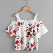Chiffon Shirt Floral Print Off White Loose Short Korean Style Clothes Women Floral Blouse Moda Feminina