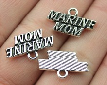 7pcs antique silver color 19*11mm MARINE MOM Charms Pendant For DIY Handmade Jewelry B13425
