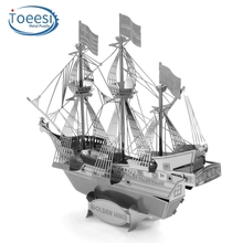 Toeesi All Metal Stainless Steel DIY Assembled Model 3D Nano Stereo Puzzle Golden Deer Pirate Ship PU054