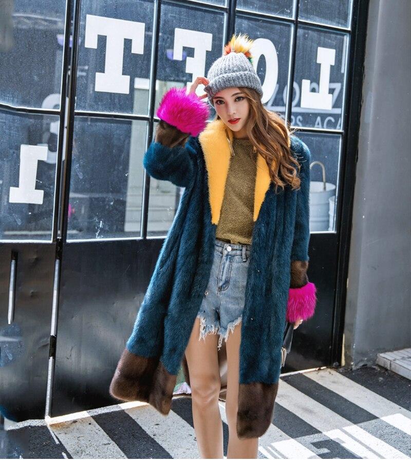 Stylish Winter 2017 female jacket colorful elegant long real mink fur coats polo collar raccoon dog sleeve new Women's clothing