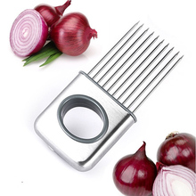 stainless steel easy cutting onion tomato holder slicer vegetable tool chopper cutter slicers kitchen ware tools products(China)