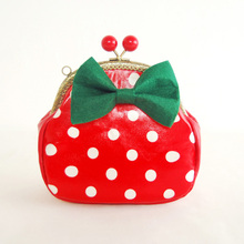 Bow Dot Print Deading Chains Green Small Bag Sweet Candy Color Red One Shoulder Cross-body Mouth Gold Package Mobile Phone Bag