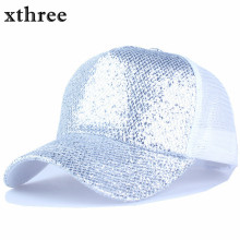 Xthree summer Shining baseball cap snapback hat hip hop casquette bone men hats for women(China)