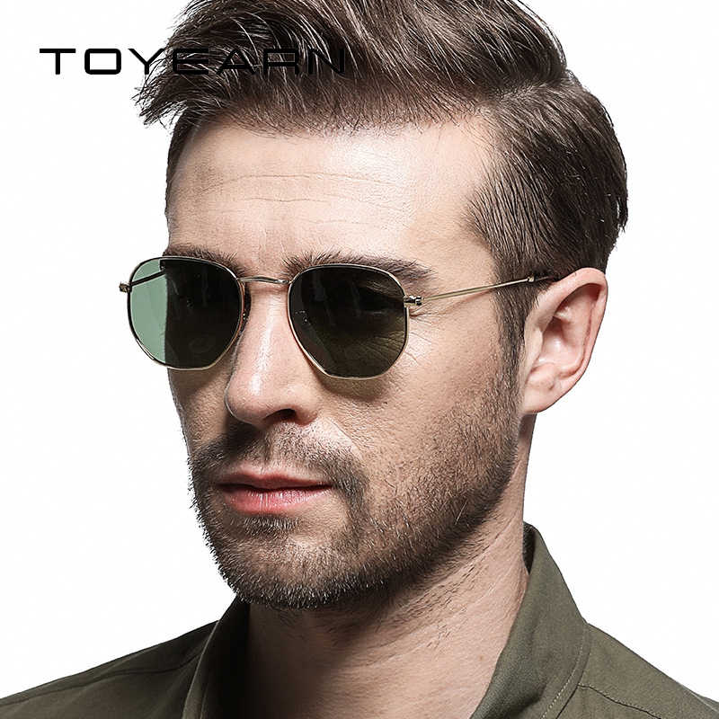 1cf2862601b TOYEARN Vintage Luxury Brand Designer Men Hexagonal Sunglasses Women  Polarized Mirror Shades Sun Glasses Female oculos