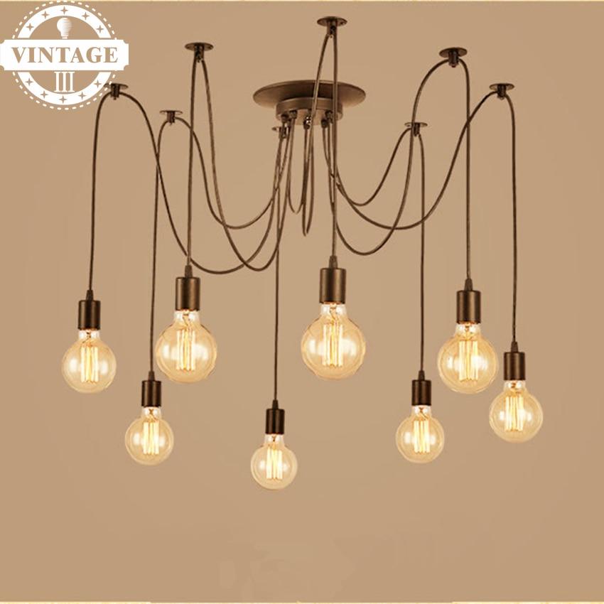 6/8 Heads DIY Amercian Vintage Black Pendant Lamp Modern Decoration for Living Room/Kitchen/Dining Room<br>