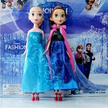 2pcs Super Shippin Unique Gifts high quality Sweet  Girls Toys Princess Anna and Elsa Doll Pelucia Boneca Toys Princesa Juguetes