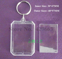 Free shipping 35pcs/lot Octagon Transparent Blank Insert Photo Picture Frame Key Ring Split keychain