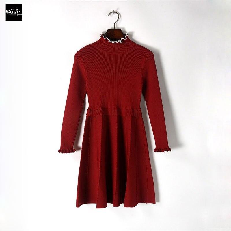 2018 New Fall Winter Slim Basic Knitted Sweater Dresses Women Pleated Ruffles Knit Striped Casual Dress Autumn Knitwear VestidosÎäåæäà è àêñåññóàðû<br><br>