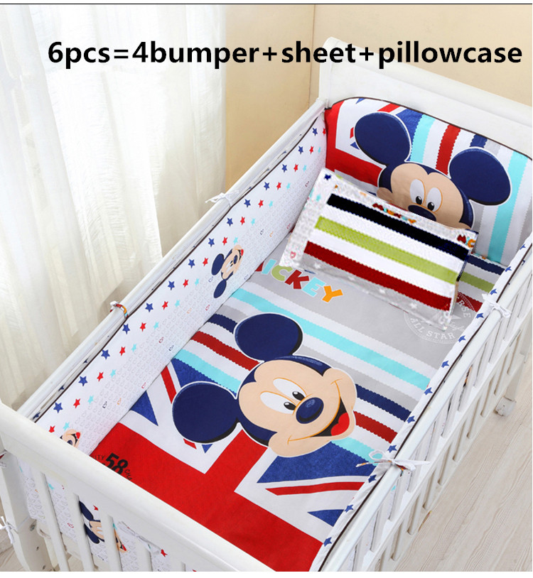 Promotion! 6PCS mickey mouse Infant Baby Bedding Set summer baby bed crib baby bedding Sets (4bumper+sheet+pillow cover)<br><br>Aliexpress