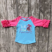 Fall new baby girls three quarter icing boutique troll hair don't care aqua hot pink top shirts cotton clothing cotton raglans