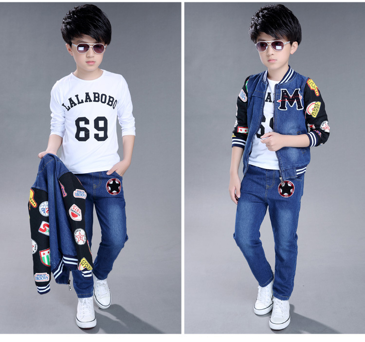 2pc suit 2017 7 8 9 11 12 years kid autumn boy winter set kids clothing sets tracksuit Children clothes Set boys Jacket + jeans<br><br>Aliexpress