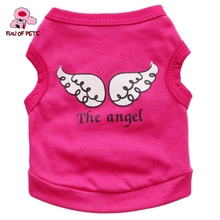 2017 Lovely Angel Wings Pattern 100% Cotton Vest for Pets Dogs Puppy Rose Pink Green Purple Dog Clothes for Pets Dogs(China)