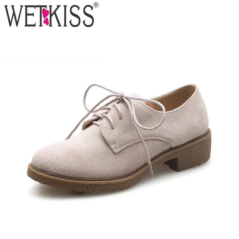 WETKISS 2018 Brand Fashion Women Pumps Round Toe Lace Up Cow Suede Footwear New Spring Square Thick Heels Female Platform Shoes<br>