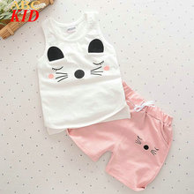 New 2017 Summer Baby Boys Girls Clothing Set Cartoon Cat Minnie Mickey Tracksuit Vest + Shorts Kids Casual Cheap Clothes KD767