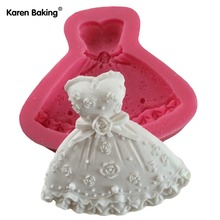 Wedding Dress Shape Three-dimensional Modelling Cake Mold Soap Candle Moulds -C589