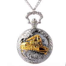 Cindiry Beautiful Silver Charming Gold Train Carved Openable Hollow Punk Quartz Pocket Watch Necklace Pendant Clock Chain P0.5