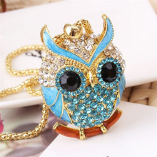 Lemon Value New Fashion Statement Rhinestone Owl Pendants Vintage Charms Crystal Maxi Punk Long Necklaces Women Jewelry A073(China)