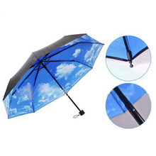 Sky umbrellas Super Anti-uv Sun Protection Umbrella Painting Blue Sky/Black Coating 3 Folding Gift Parasols Women Rain Umbrellas