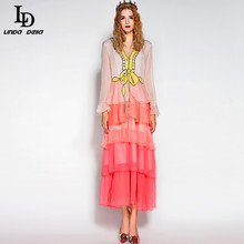 LD LINDA DELLA High Quality Ruwnay Designer Summer Dress Women's Long Sleeve Tiered Gradient color Sequin Ankle Length Dress(China)