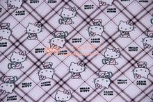 165X100cm Hello Kitty Diamond Type Lattice Lycra Cotton Fabric for Baby Clothes Dress Sewing Patchwork DIY-BK030