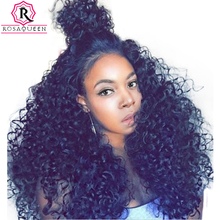 250% Density Lace Front Human Hair Wigs For Black Women Brazilian Curly Hair Lace Wig Pre Plucked Full Ends Rosa Queen Remy(China)