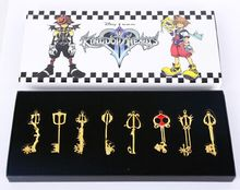 8pcs/set Kingdom Hearts 6.5-8cm Metal Keychain Necklace #1566 Action Figure Brinquedo Toy Kids Christmas Gift