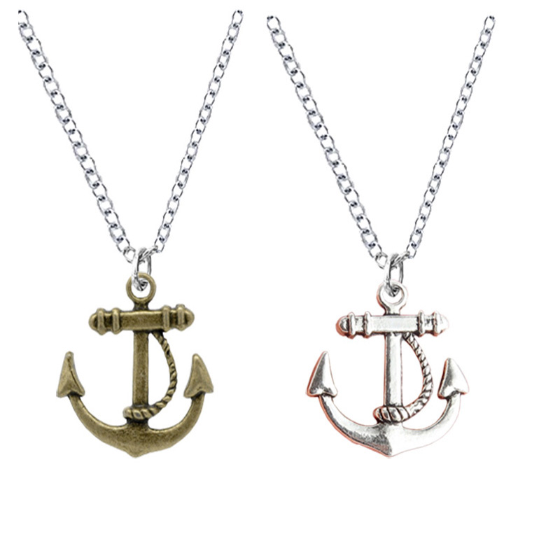 2 PCS Navy Boat Anchor Necklaces Anker Link Chain Vintage Retro Pirates of the Caribbean Pendant For Women Cadeau Maitresse