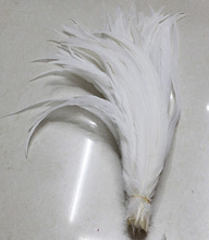 Free shipping Wholesale 100pc/lot Bleached White Cock Tail Feathers 35-40Cm rooster tail Feather Rooster feather For headdress(China)