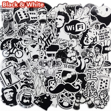 101 Pcs Black and White Sticker Snowboard Car Styling Sleigh Box Luggage Fridge Toy Vinyl Decal Home decor DIY Cool Stickers(China)