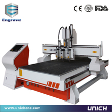 direct sales 3 head cnc router/ 1325 cnc router 6kw vacum table and dust collector(China)