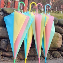 30pcs/lot Promotional Colorful Rainbow Style Umbrella For Women Kids Long Handle Parasol Mixed Colors Rain Gear ZA4300(China)