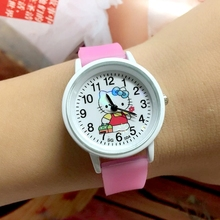 Free Shipping 10PCS/LOT Cute Style Helo KT Children Quartz Wristwatches Girls Glow In The Dark Silicone Cartoon Kids Jelly Watch(China)