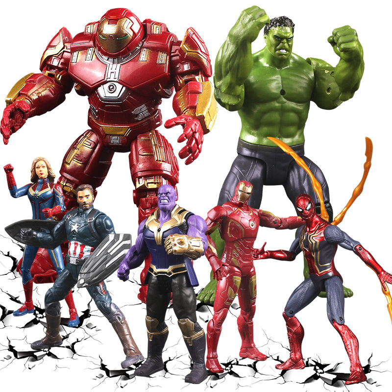 6pcs//set Avengers 4 Endgame Captain Green Hulk Iron Man Thano PVC Figure Toy