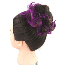 Soowee 30 Colors Synthetic Hair Hairband Purple Black Scrunchie Hair Bun Chignon High Temperature Fiber Hair Roller Headband(China)